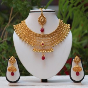 Buy Antique maharani Maroon And LCD kundan necklace set  Online