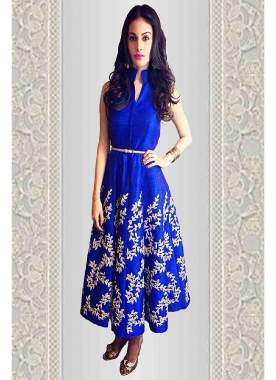 Buy Fabboom New Blue Embroidered Designer Anarkali Suit Online