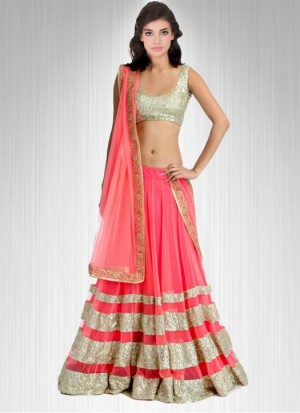 Buy Fabboom Marvellous Peach Net Lehenga Choli Online