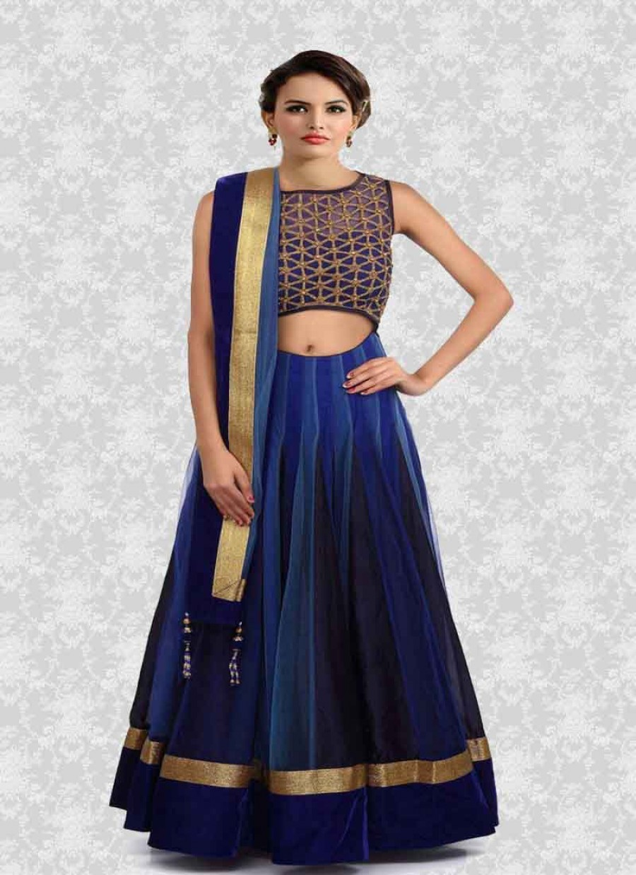 2a63cf89e3734 Buy Fabboom Nevy Blue Beautiful Designer Semi Stitched Lahenga Choli Online