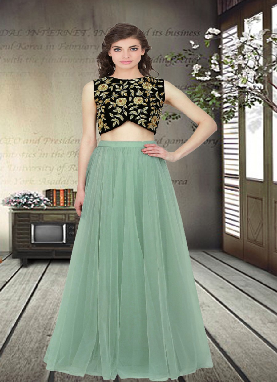 Buy Fabboom Latest Beautiful Net Designer Semi Stitched Lahenga Choli Online