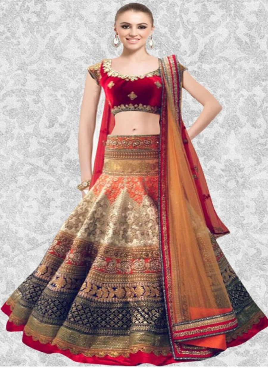 Buy Fabboom Latest Red And Off Whites Beautiful Designer Lahenga Choli Online