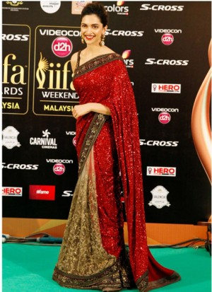 Buy Fabboom Fancy Stylist Dipika Padukon Red Saree Online