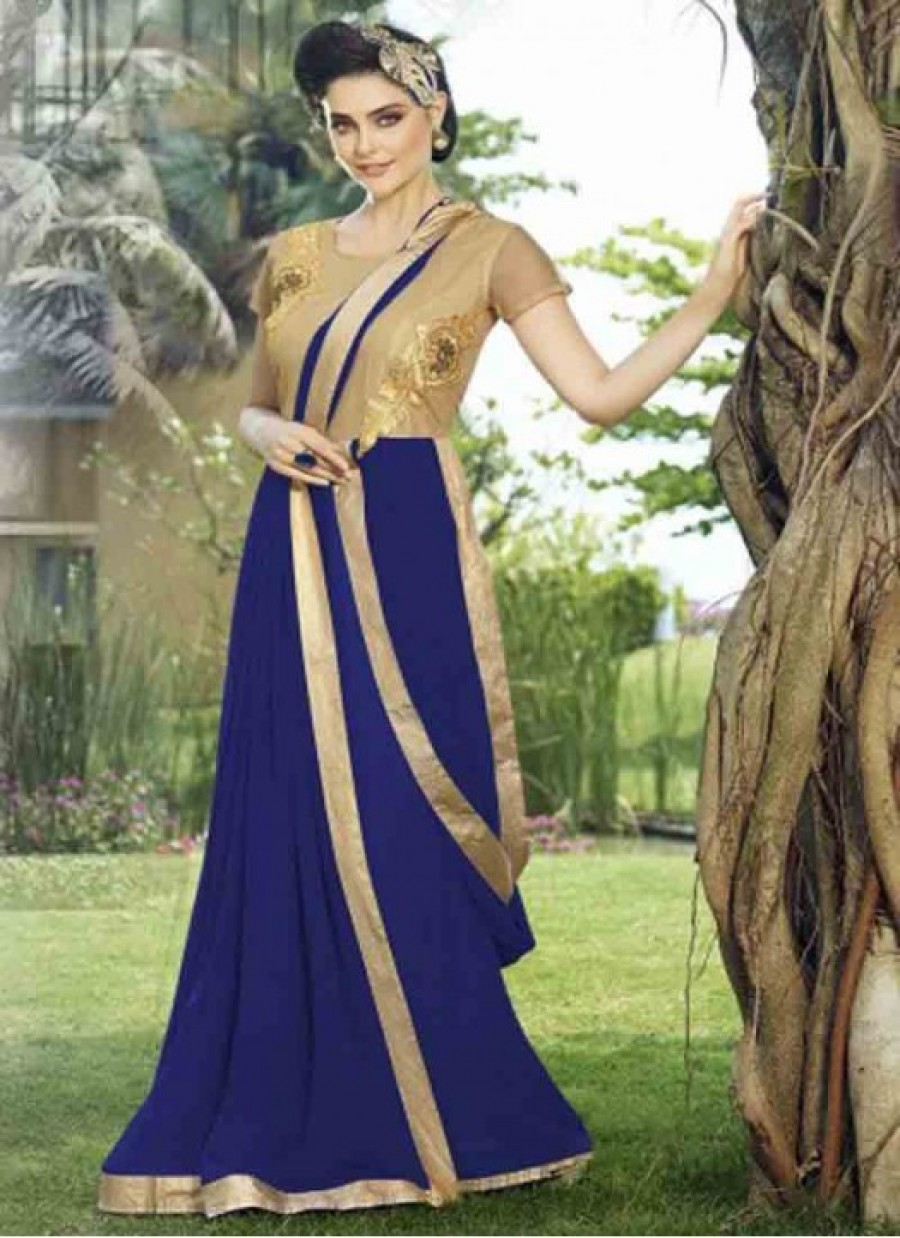 Buy Fabboom New Blue Designer Embroidered Gown Online