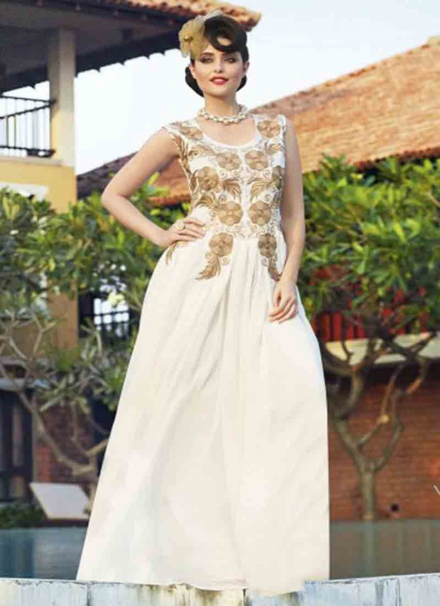Buy Fabboom Amazing White Designer Embroidered Gown Online