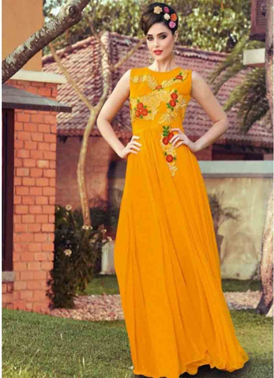 Buy Fabboom New Yellow Designer Embroidered Gown Online