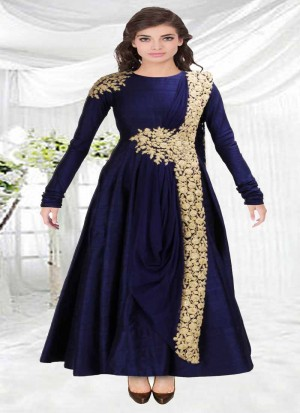 Buy Fabboom New Blue Floor Touch Embroidered Designer Gown Online