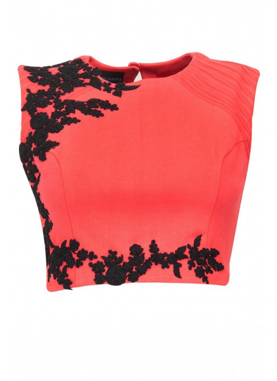 Buy Fabboom Orange Beautiful Embroidered Designer Unstitched Blouse Online