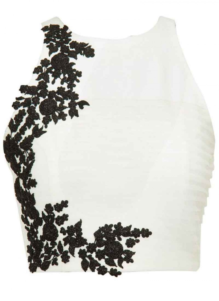 Buy Fabboom White Beautiful Embroidered Designer Unstitched Blouse Online