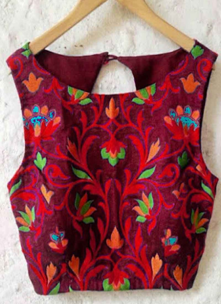 Buy Fabboom New Latest Maroon Embroidred Designer Unstitched Blouse Online