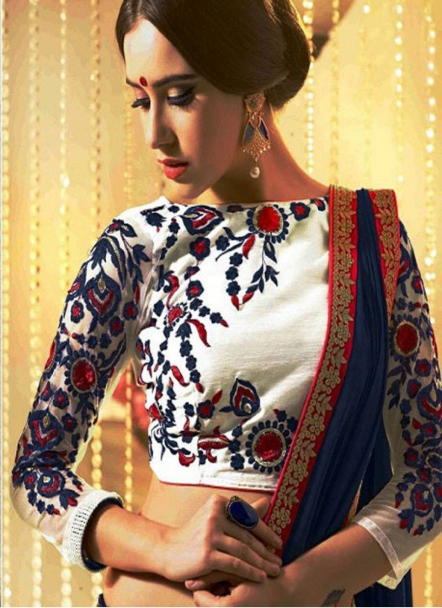 Buy Fabboom Latest White Beautiful Embroidered Designer Unstitched Blouse Online
