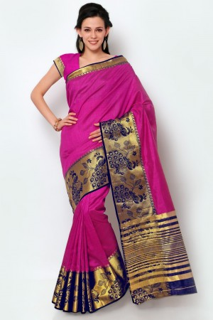Buy Magenta Dupioni Silk Black Border Saree with Blouse Piece Online