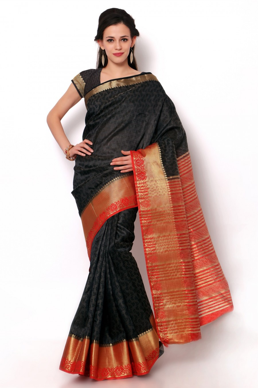 Buy Black Dupioni Silk Red Border Saree with Blouse Piece Online