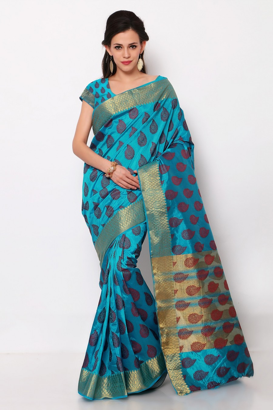 Buy Sky Blue Dupioni Silk Saree with Blouse Piece Online