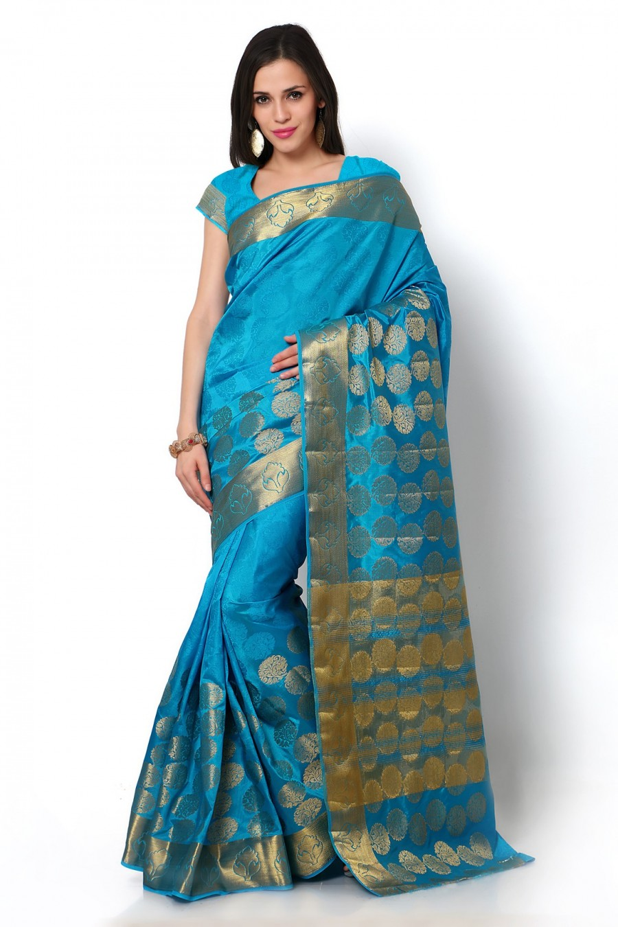 Buy Blue Dupioni Silk Saree with Blouse Piece Online