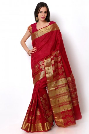 Buy Red Dupioni Silk Zari Border Saree with Blouse Piece Online