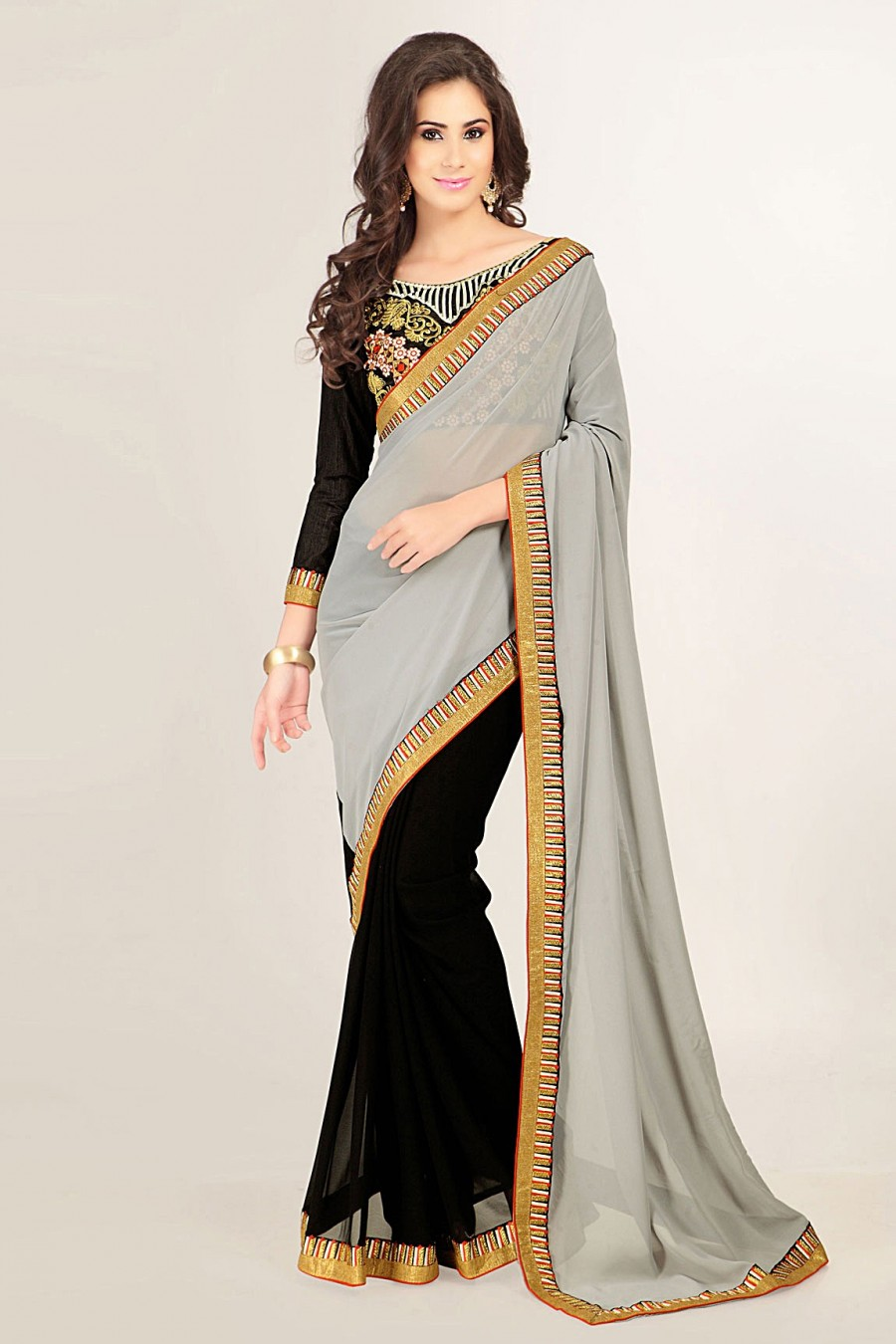 Buy Grey and Black Georgette Saree with Jaipuri Silk Embroidered Blouse Piece Online