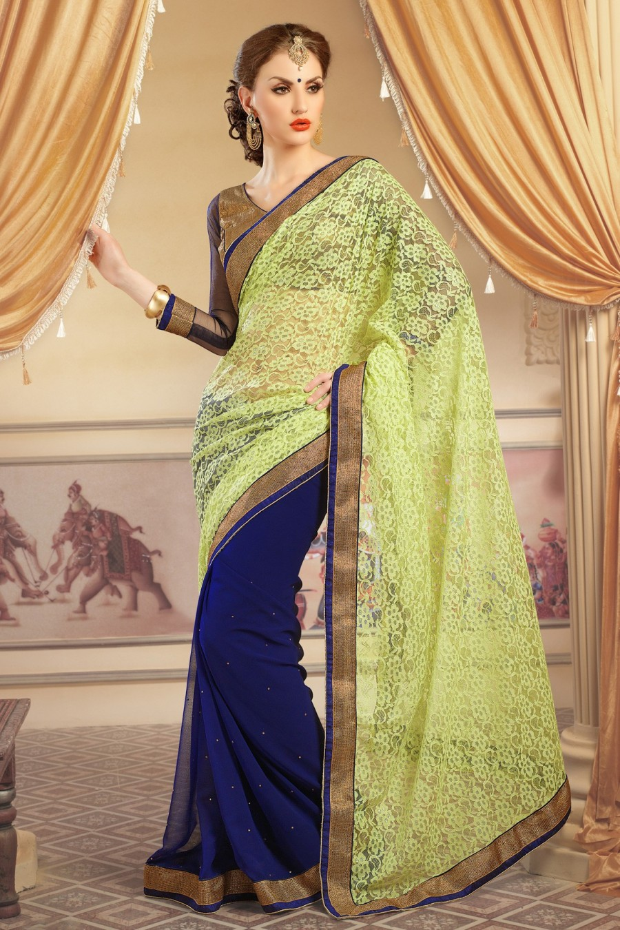 Buy Navy Blue and Light Green Georgette Net Jacquard Saree with Copper and Blue Blouse Online