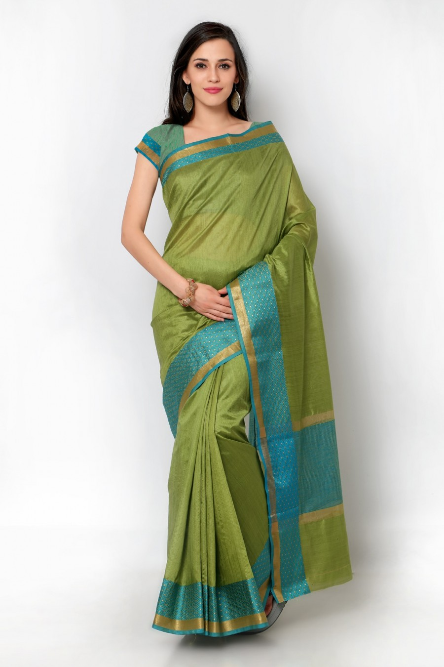 Buy Green Tussar Silk Blue Border Saree with Blouse Piece Online