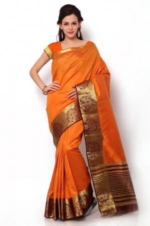 Buy Orange Dupioni Silk Saree with Blouse Piece Online