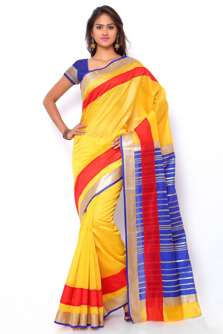 Buy Yellow and Blue Chanderi Cotton Saree with Chanderi Blouse Piece Online