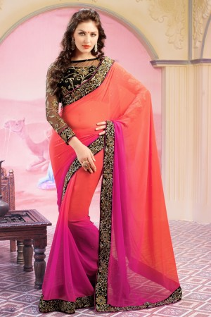 Buy Orange and Pink Embroidered Saree with Black Blouse Piece Online