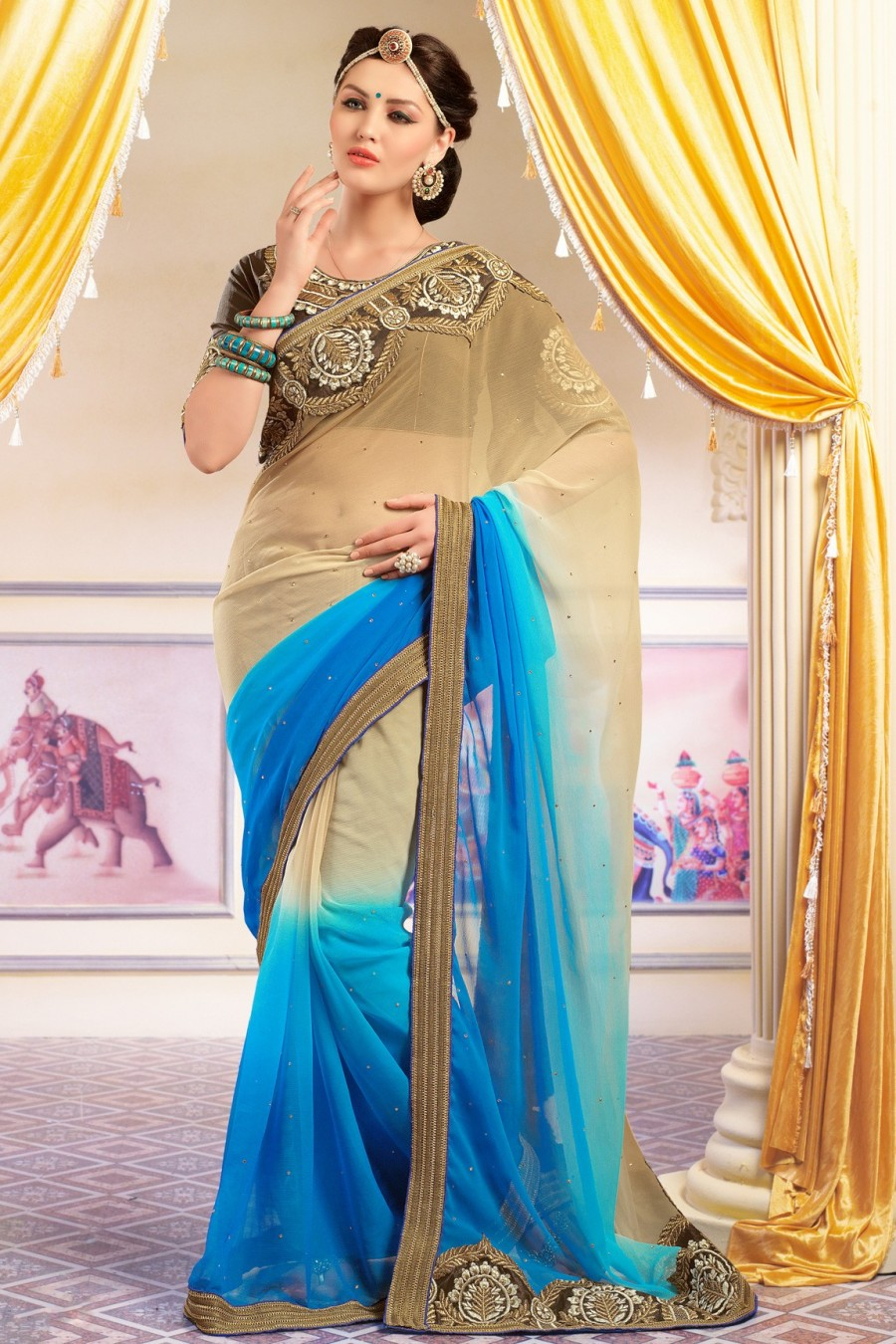Buy Beige and Sky Blue Georgette Shaded Embroidered Saree with Blouse Piece Online