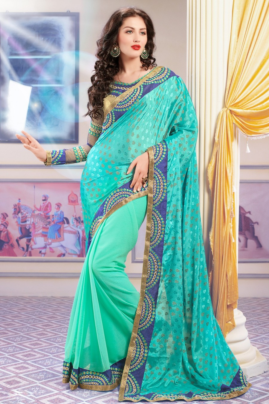 Buy Sea Green and Aqua Crepe Jacquard Saree with Copper Blouse Online