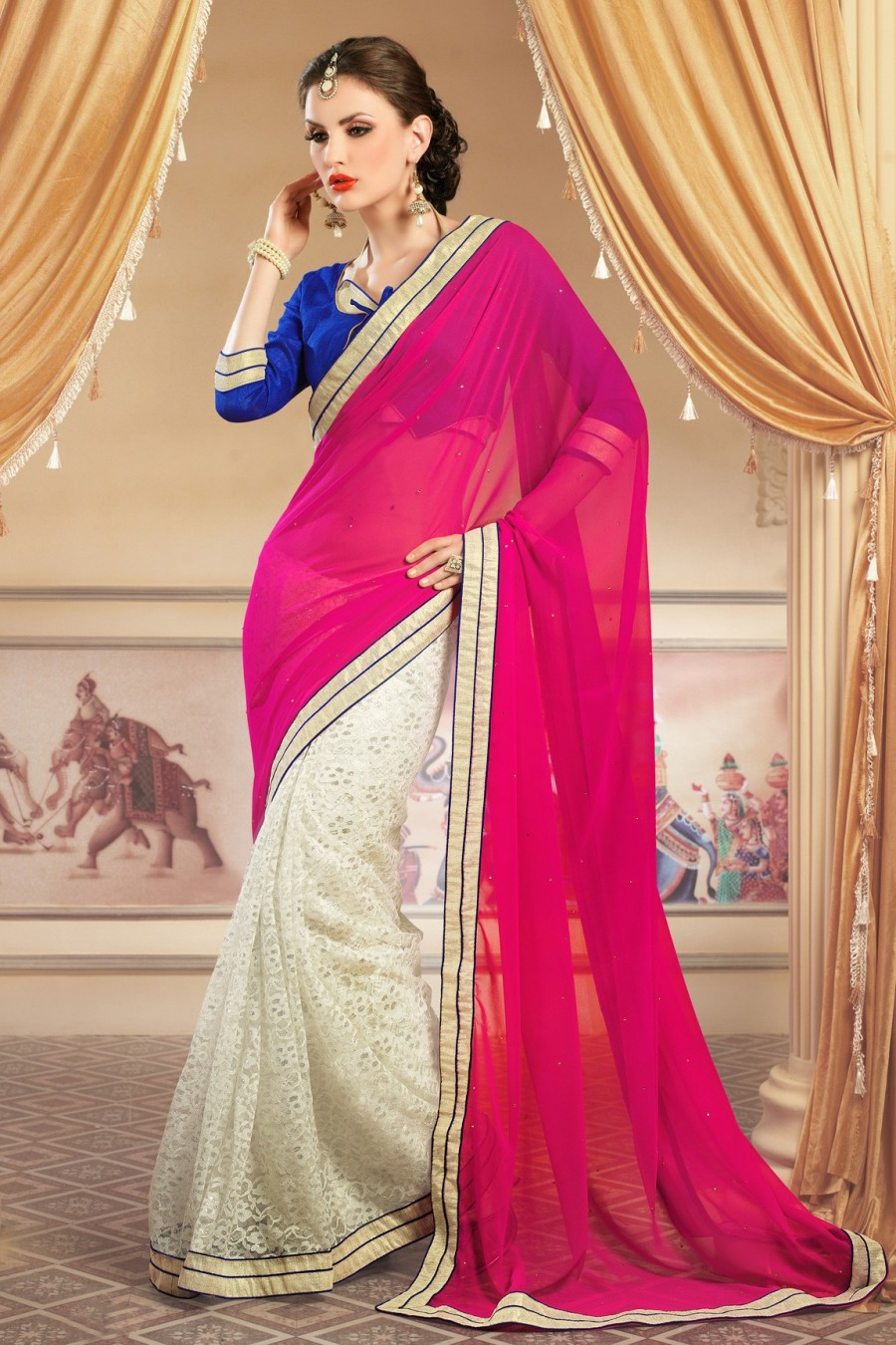 Buy White and Pink Georgette Net Jacquard Saree with Brocade Blouse Online