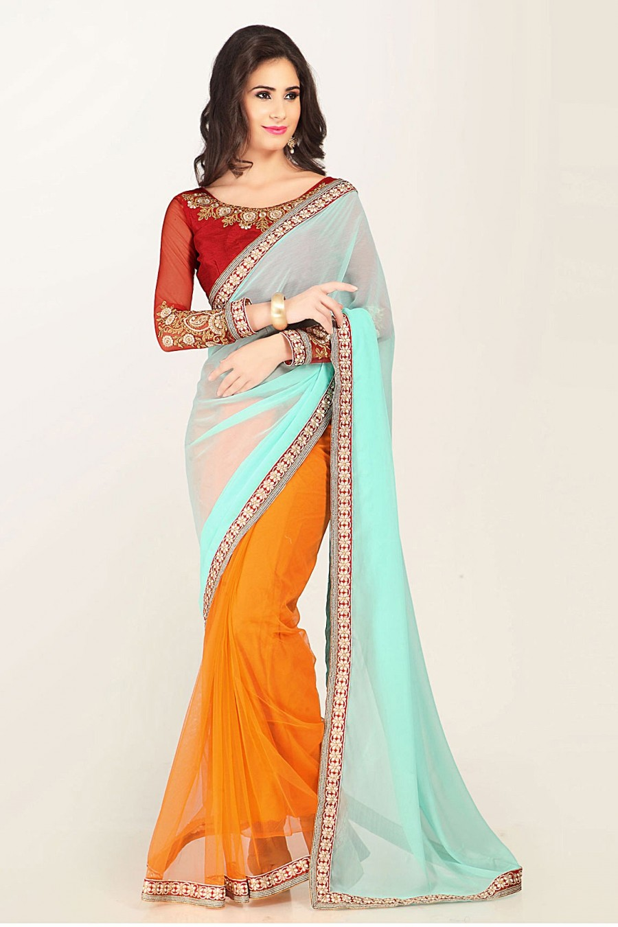 Buy Orange and Aqua Georgette Net Saree with Red Embroidered Blouse Piece Online