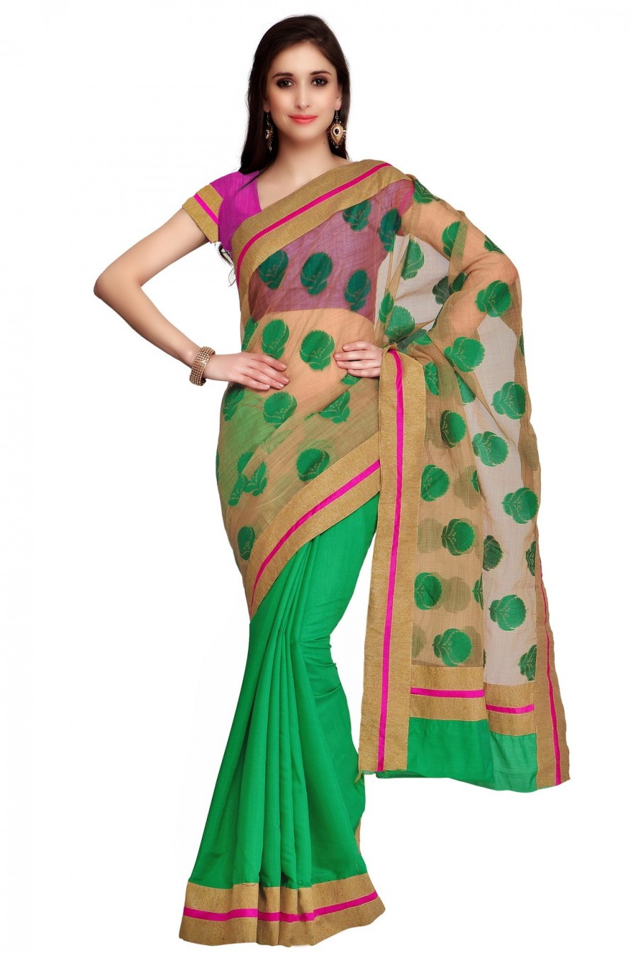 Buy Green and Beige Half n Half Saree with Pink Blouse Piece Online