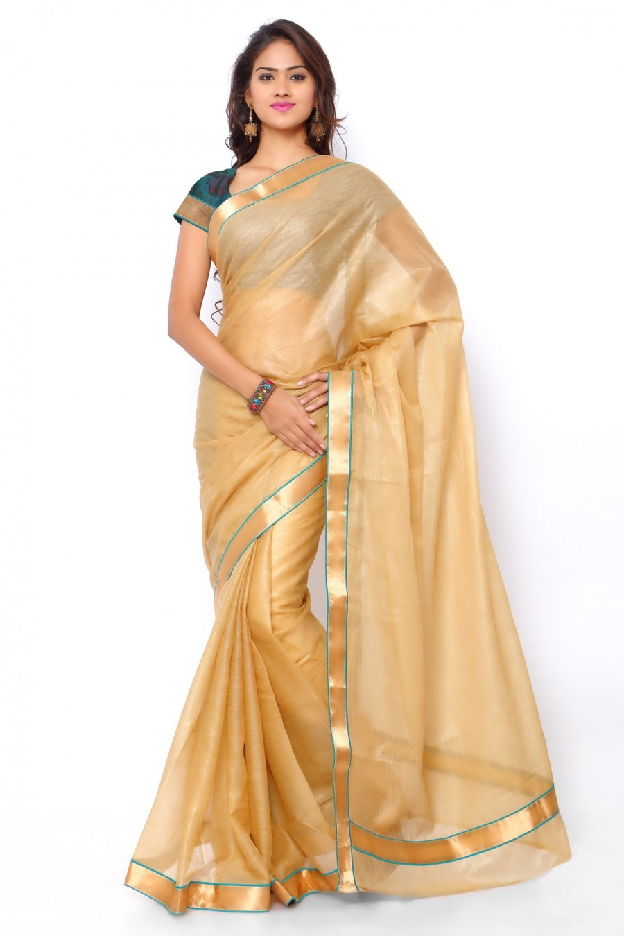 Buy Golden Chanderi Cotton Zari Work Saree with Cotton Brocade Blouse Piece Online