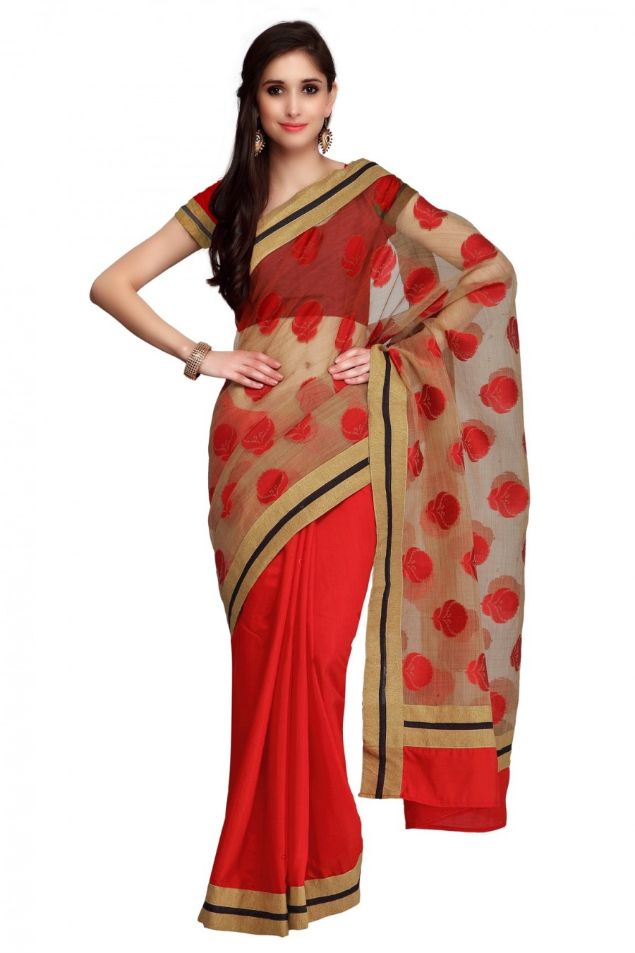Buy Red and Beige Half n Half Zari Border Saree with Blouse Piece Online