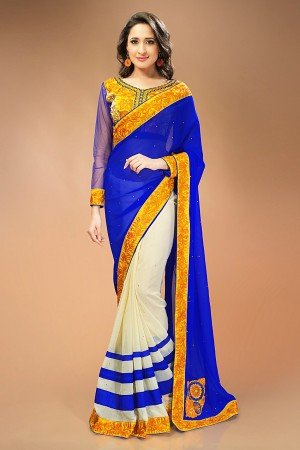 Buy Cream and Blue Georgette Chiffon Saree with Embroidered Blouse Piece Online
