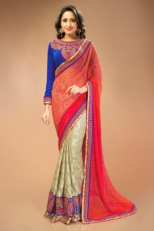 Buy Beige and Salmon Chiffon Kota Jacquard Saree with Blue Velvet Blouse Online