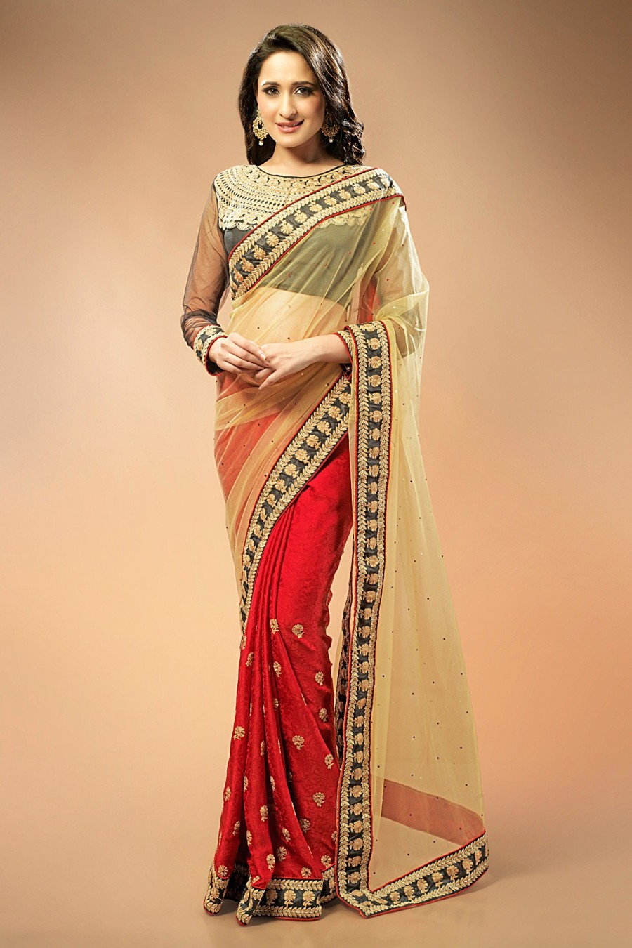Buy Red and Beige Jacquard Saree with Black Blouse Piece Online