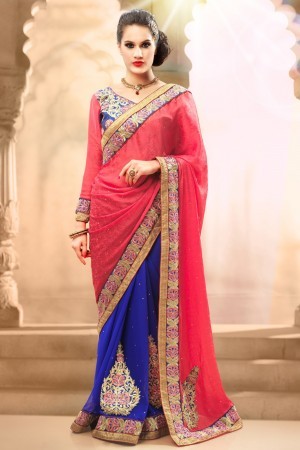 Buy Pink and Blue Crepe Jacquard Georgette Saree with Blue Blouse Piece Online