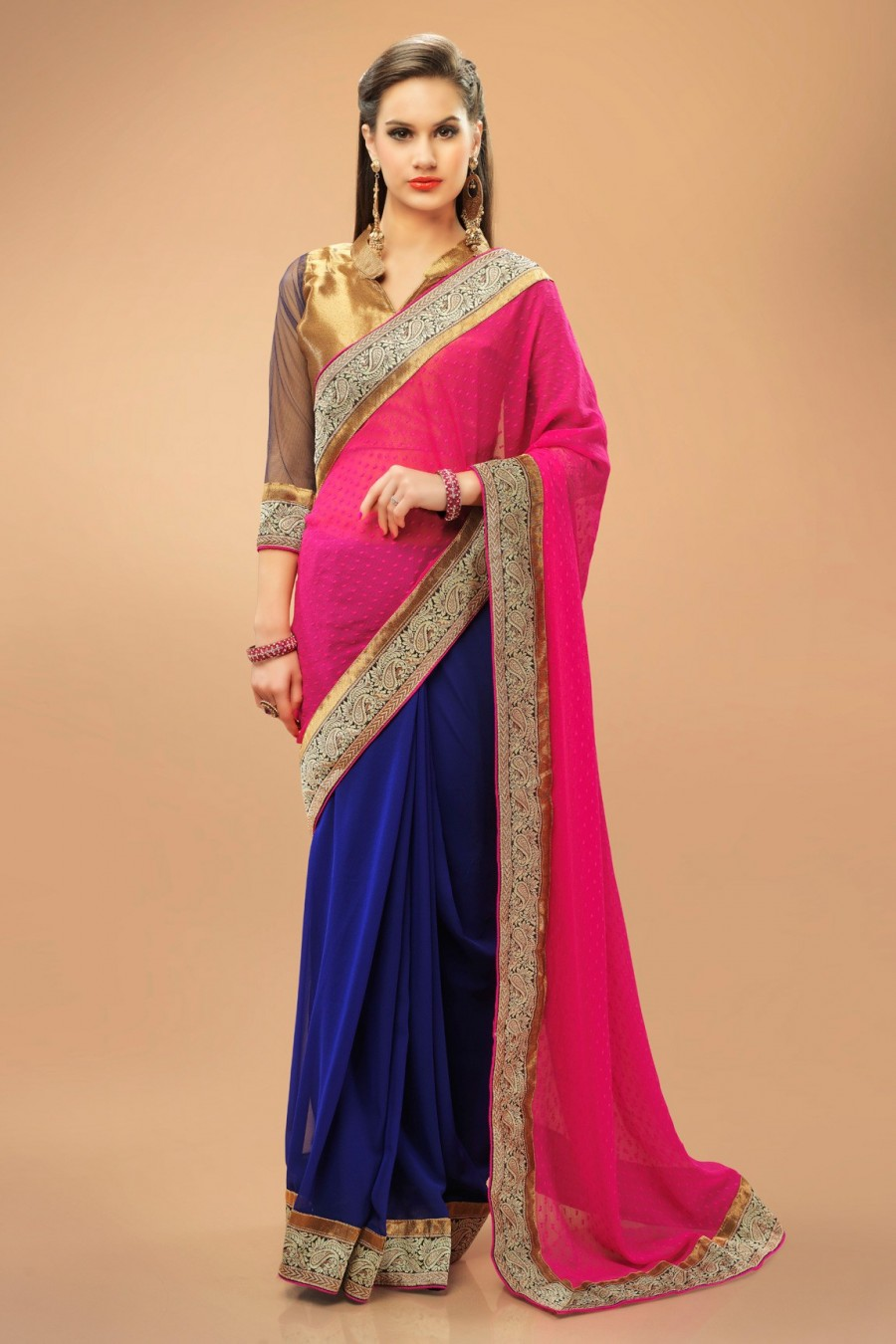 Buy Pink and Blue Georgette Saree with Golden Banarasi Silk Blouse Piece Online