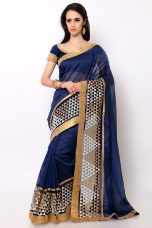 Buy Navy Blue Cotton Embroidered Saree with Blouse Piece Online
