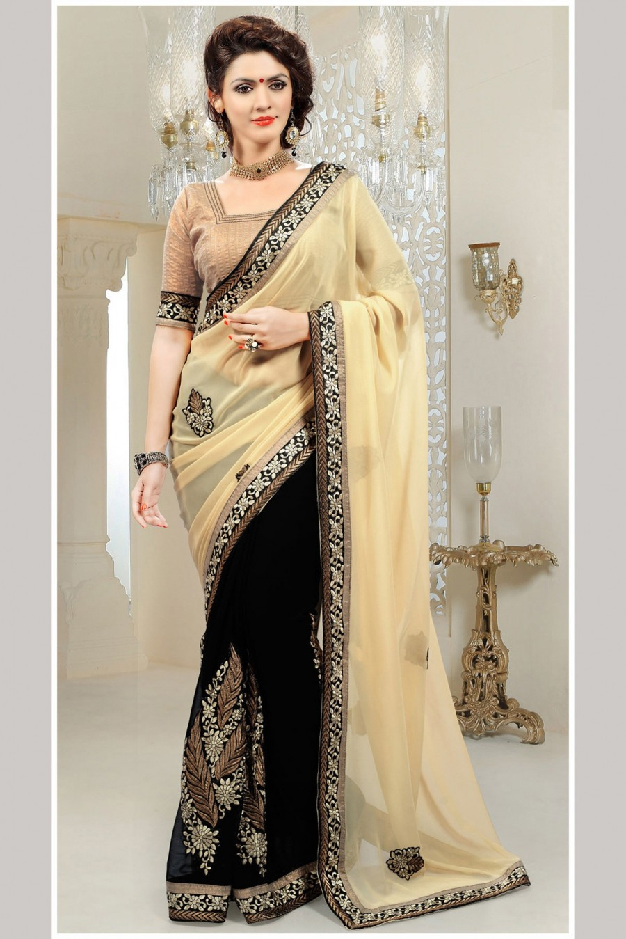 Buy Black and Cream Bemberg Georgette Embroidered Saree with Brocade Blouse Online