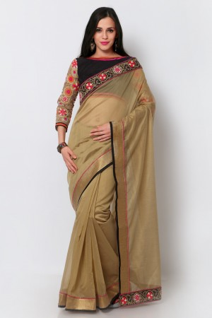 Buy Light Brown Chanderi Lace Border Saree with Embroidered Blouse Piece Online
