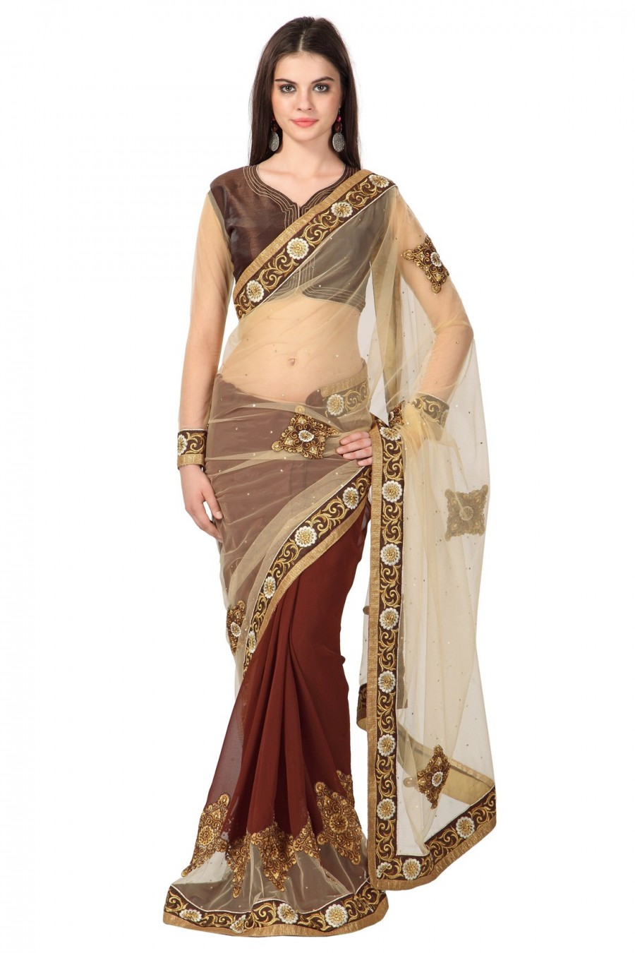 Buy Brown and Cream Net Georgette Saree with Jaipuri Silk Net Blouse Piece Online