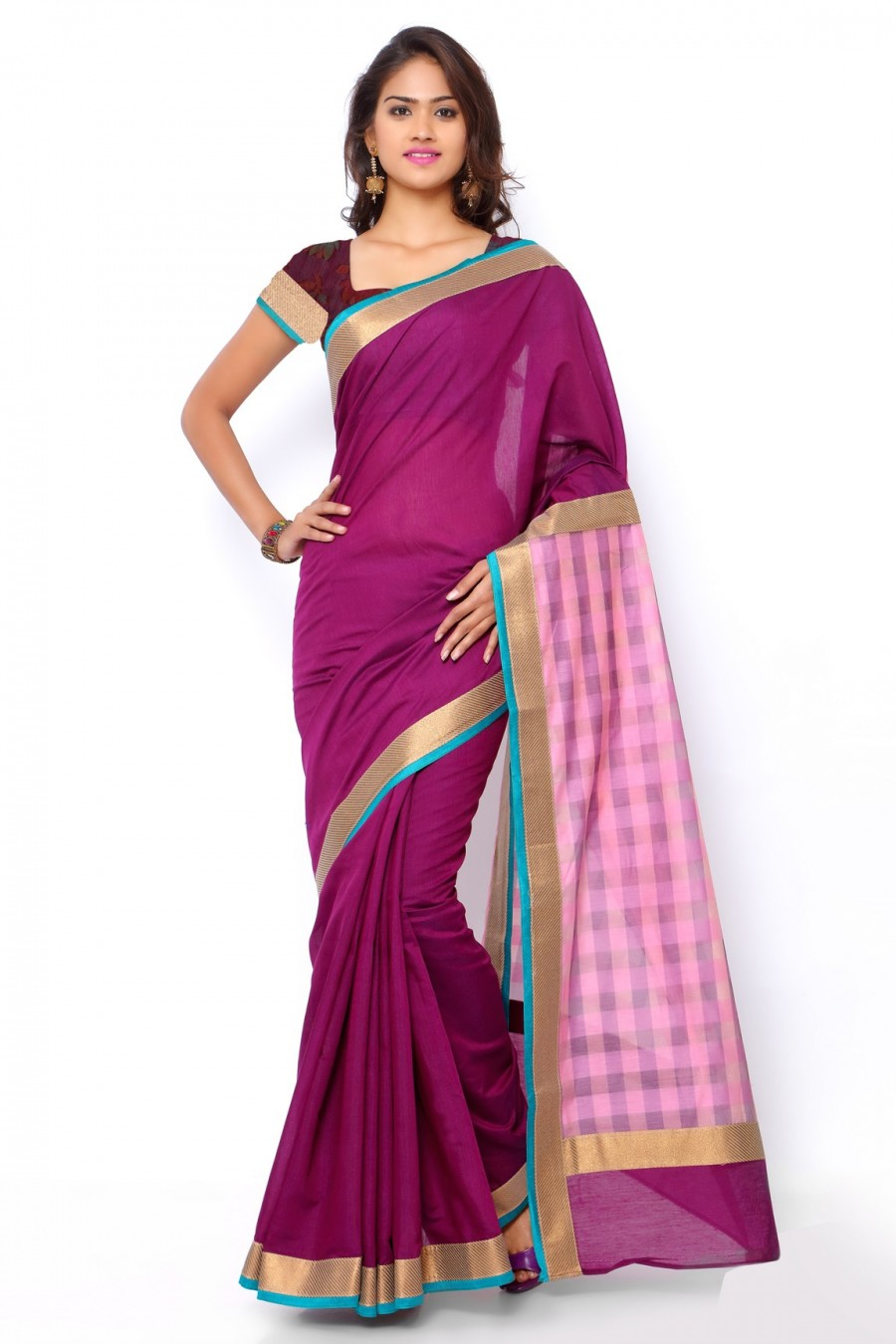 Buy Purple Chanderi Cotton Zari Border Saree with Purple Cotton Brocade Blouse Piece Online