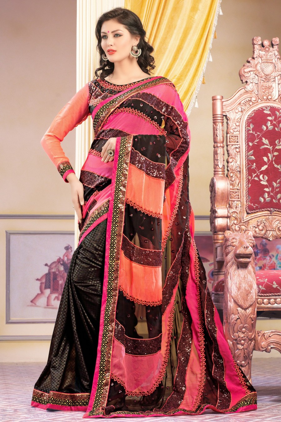 Buy Black Georgette Embroidered Saree with Dupioni Blouse Online