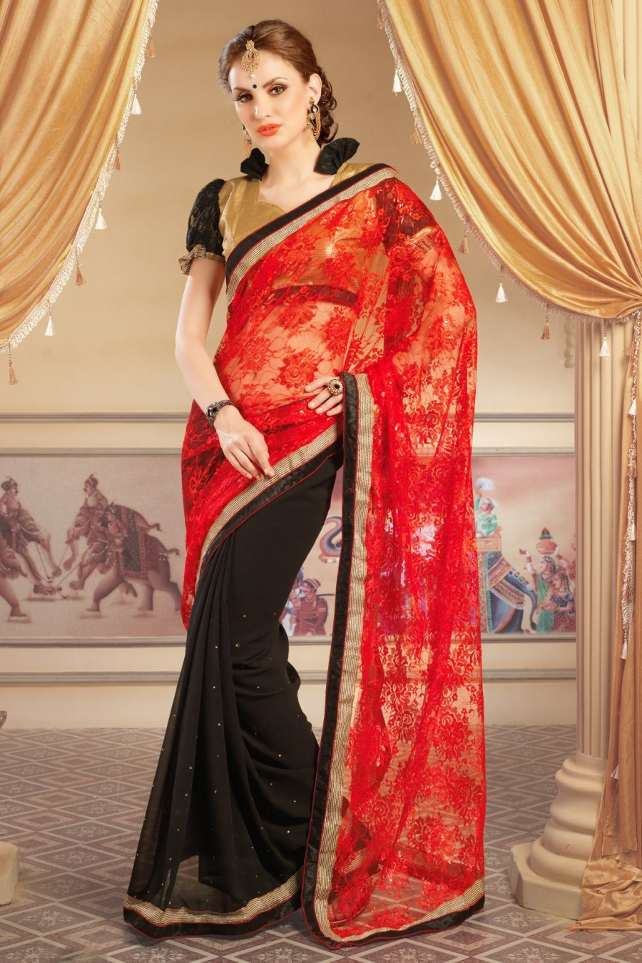 Buy Black and Red Georgette Net Jacquard Saree with Brocade Net Blouse Piece Online