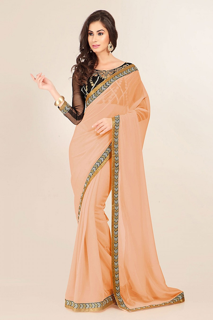 Buy Peach Georgette Saree with Black Blouse Piece Online