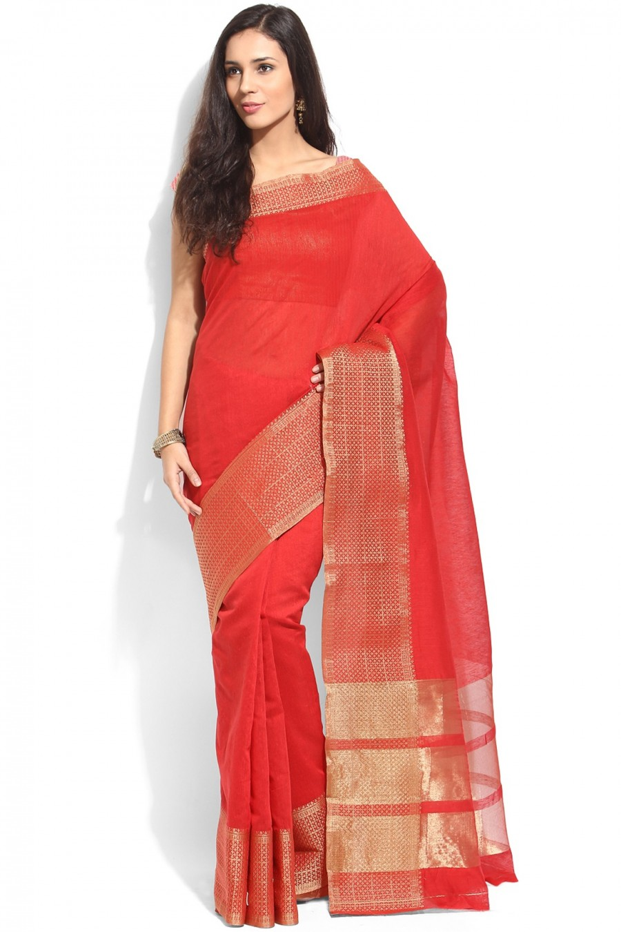Buy Red Cotton Saree with Cotton Blouse Piece Online