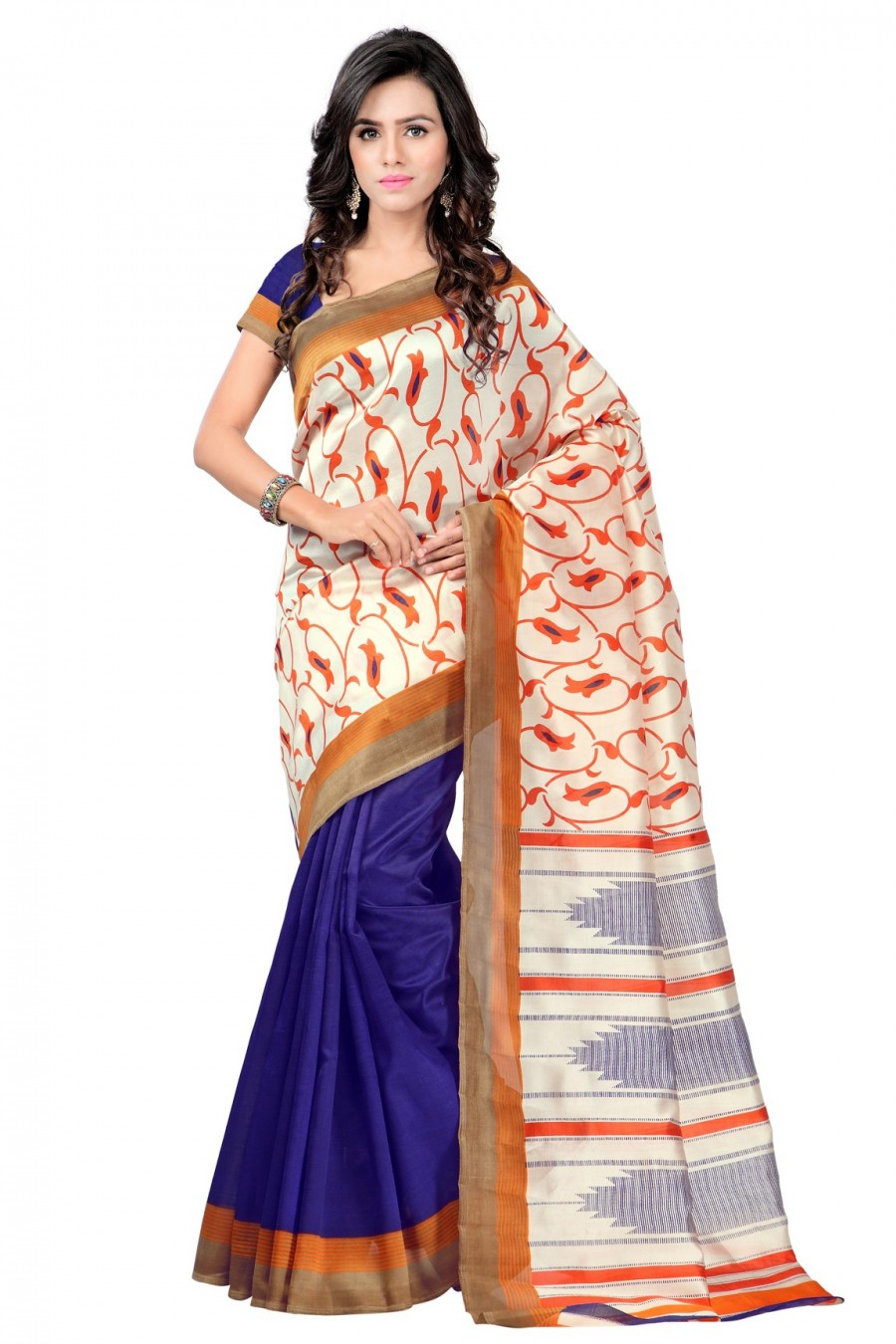 Buy Cream and Blue Art Silk Saree with Blue Art Silk Blouse Piece Online