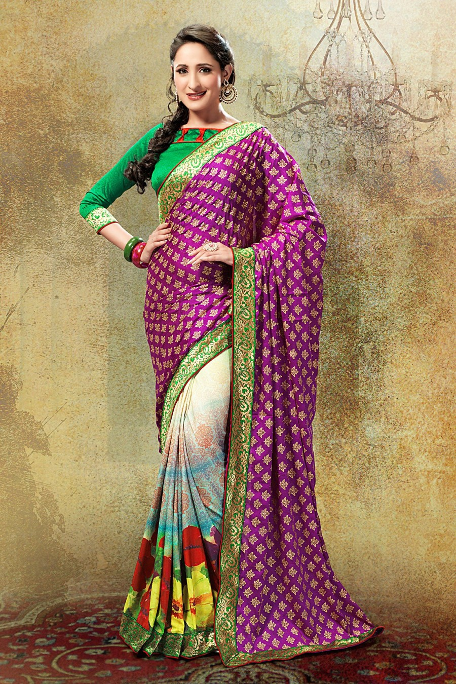 Buy Purple and Multi-color Crepe Georgette Printed Saree with Green Blouse Piece Online