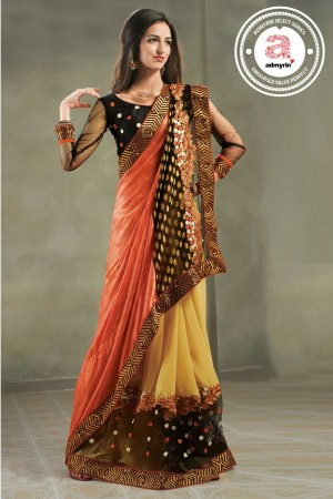 Buy Orange and Yellow Viscoss Jacquard Saree With Blouse Piece Online